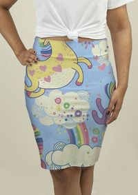 Pencil Skirt with Rainbows and Unicorns in the Clouds $32.95