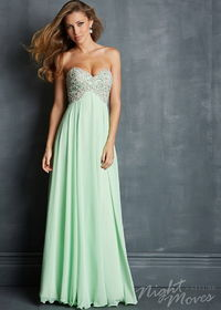 Night Moves 7027 Sequin Beaded Top Lime Long Chiffon Dress