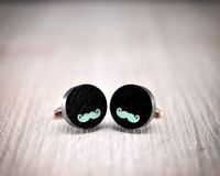 Ebony mustache Cufflinks - Hand made African ebony wood cuff links with mustache in turquoise color enamel $39.00