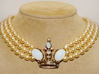 B. W. designer Faux Pearl & Crown Custom Necklace. $70.75