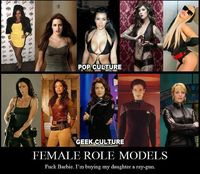 Think geek. I had both Barbies and Star Trek action figures as a little girl, and they went on adventures together! (Often, Barbie was a freakishly tall alien.)