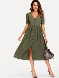Single Breasted Roll Up Sleeve Dress $46.50