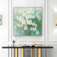 Modern flower painting Acrylic Paintings on Canvas Original art green and white large wall art Wall Pictures home Decor cuadros abstractos $148.75