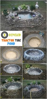 If you need DIY and Easy ways to make Tire Garden Ponds, follow this step. To create your own decorative pond. It's a fun way, that helps you re-use and old tir