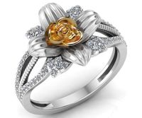 Art Nouveau Two Tone Yellow & White Flower Ring Leaves Ring Unique Engagement Ring Floral ring Birthday Gift For Her Christmas Gift $1295.00