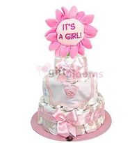 3 Tier Baby Diaper Cake: 52 Huggies Natural Care size P, Plush flower It´s a Girl and Bib 100% cotton. Approximate Dimensions: 21'�'�W x 14'�'�H
