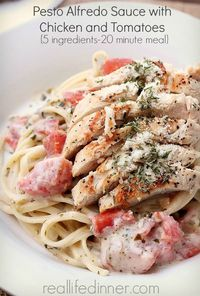 "Alfredo Pesto Sauce with Chicken and Tomatoes {Five ingredients '�'�"" 20 Minute Meal}"