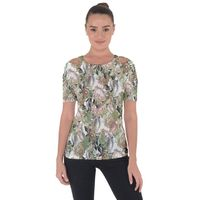 Romantic Beige Flowers Shoulder Cut Out Short Sleeve Top