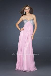 Pink Strapless Open Back Floor Length Sequin Evening La Femme 16977 Dresses
