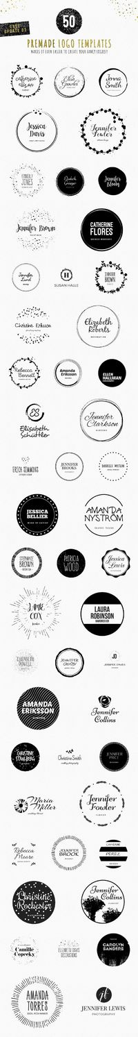 Feminine Logo Creator Circle Edition: 240 circle shaped decorative vector elements + 60 name based text combinations makes it total of 14,400+ possible logo variations! All shapes and fonts are made with the latest feminine trends in mind. Just choose you...