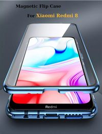For Xiaomi Redmi 8 Case Bakeey 360º Curved Screen Front+Back Double-sided Full Body 9H Tempered Glass Metal Magnetic Adsorption Flip Protective Case For Xiaomi Redmi 8