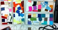 love photographs of workspaces particularly when they are covered in piles of creativity and yes, colour swatches. This behind-the-scenes shot of the Old Navy offices showcases the creative process of colour selection and forms a fun, punchy palette of Pa...
