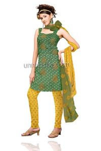 This dress material has got all over cream,mustard bhandini block prints kameez with lining.