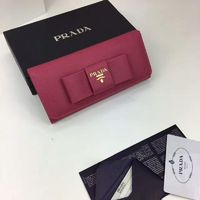Prada 1M1132 Big Bow Saffiano Leather Wallet In Rose
