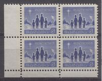 Nice Mint Corner Block of the 5c Tagged Christmas Stamp of Canada From 1964.