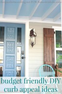 budget friendly curb appeal ideas from thespacebetweenblog.net for Remodelaholic.com (stained threshold, keyless lock and beadboard ceiling)