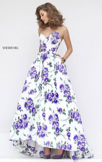 Ivory/Purple Floral Printed Sherri Hill 50482 Sweetheart-Neck 2016 Long Evening Gown