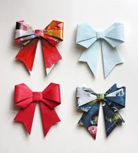 Origami bow diy tutorial from magazines (or whatever) via