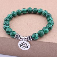 Natural Stone Lotus Flower Bracelet Charm $14.00