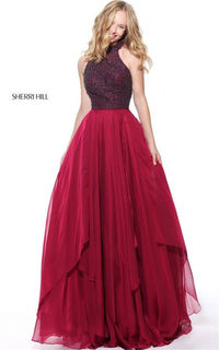 Cheap Sherri Hill 50808 High Neck Ruby Chiffon Long Dress Prom 2017