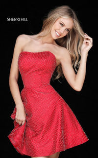 SHERRI HILL RED 51546 SHORT SENIOR SATIN HOMECOMING DRESS