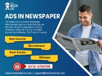 TheMediaCat brings you the online facility of booking Ads in Newspaper for any types of advertisement. They provide different types of Newspaper Advertisement: classified text, classified display ads and display advertisement. There are several packages a...