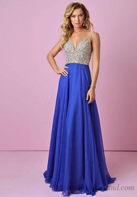 Long Cobalt Splash J337 Beaded V Neck Cheap Prom Dresses