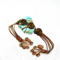 Natural Nevada Turquoise and Copper Wire Wrap Bohemian Cuff Bracelet $22.32