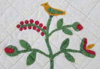 """Incredibly rare antique c1850 tiny scale album applique crib quilt bird floral+; ebay seller vintageblessings; hand quilted at 7-9 spi, grid work with squares measuring 1.5"""" x 1.5""""; hand appliqued, hand sewn together; 72"""" x 59""""; 2 lbs"""