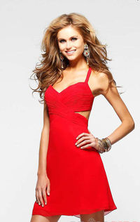 Short Sleeveless with Side Cut Outs Red Dress