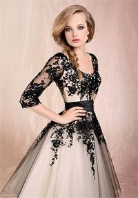 Ball Gown With Sleeves And Black Lace Floor-Length Cheap 2014 Wedding