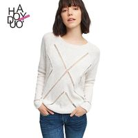 Vogue Simple Hollow Out Seen Through One Color Spring Casual 9/10 Sleeves T-shirt - Bonny YZOZO Boutique Store