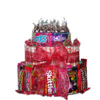 This Three Tier Cake consist of:--an assorted mix of candies, from Laffy Taffy to Skittles this Candy Cake makes a fun gift.