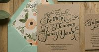 mint and peach, mint and kraft, letterpress wedding invitations, invitations with twine, mint and peach, mint and kraft, green wedding invitations, kraft wedding invitations, rifle paper floral wrapping paper, rustic wedding invitation