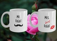Mr. and Mrs. always right White Ceramic Coffee Mug |Wedding Gift | Engagement Gift | Anniversary| Newly Weds| Couple| Bride|Groom $17.45