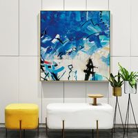 Abstract Paintings on canvas Original acrylic black blue painting large wall pictures framed wall art $140.00