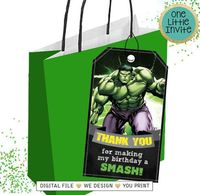 Hulk Thank you Card // Hulk Favor Tags // Hulk Printables // Hulk Party Tags // Hulk Party // The incredible Hulk // Superheroes Party $4.00