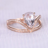 7X10MM PEAR SHAPED MORGANITE AND DIAMOND ENGAGEMENT RING 14K ROSE GOLD CURVED V SPLIT SHANK BAND