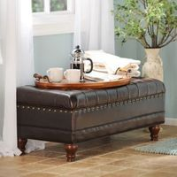It's decorative and useful! We love the Espresso Faux Leather Tufted Storage Bench. #Kirklands #fallretreat