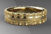 Roman Men's wedding bands 7mm wide 14 karat white and yellow gold anniversary band design by Sal Knight © $490.00