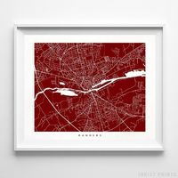 Randers, Denmark Street Map Horizontal Print by Inkist Prints - Available at https://www.inkistprints.com