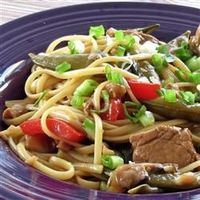 Pork lo mein. Double recipe and use actual Chinese noodles, real soy sauce, and rehydrated Chinese black mushrooms (optional)