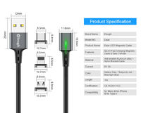 Elough Estar 3A Magnetic USB Type C Quick Charge Data Cable for Samsung Xiaomi Huawei
