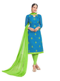 Sky Blue Chanderi Embroidered Dress Material