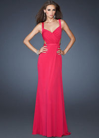 Cheap Long Fuchsia Open Back Straps Side Cutouts Fitted Formal Dress