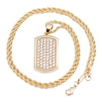 """Premium Men's Gold Plated Dog Tag Micro Pendant Iced Out Iron Rope Chain 3mm 24"""" Hip Hop Bling Necklace £19.38"""