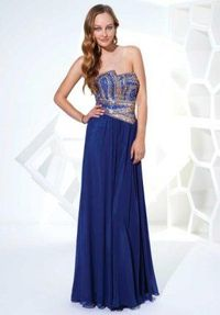 2014 Blue Corset Glittering Top Long Prom Dresses