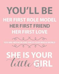 "Typography Print ""She is your LITTLE GIRL"" nursery art - children's room art - Size 8x10 - ENGLISH"