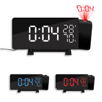 TS-5210 Thermometer Hygrometer Digital Clock 3 Color Projection LED Switch Display Time Clock Temperature Humidity FM Radio