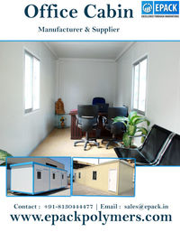 Office cabin used in every industry for different purposes. EPACK Polymers Private Limited is on of the leading office cabin manufacturer & supplier in India and offers wide range of office cabin.  http://www.epackpolymers.com/office-cabin.html